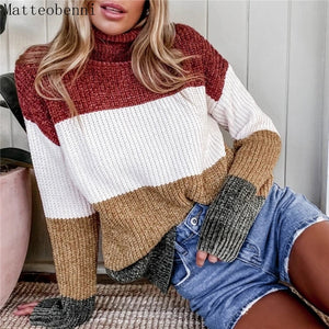Winter Womens Patchwork striped Knitted Turtleneck Sweater 2020 Autumn Casual Loose Sweaters Pullover Women Long Sleeve jumper
