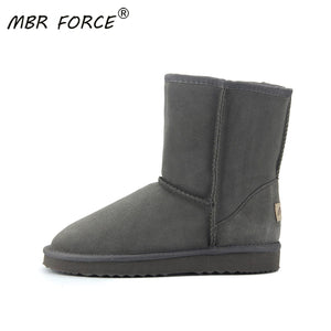 MBR FORCE Australia Boot Winter Warm leather suede winter snow boots for women Mid-Calf Boots winter for Girl's Black gray shoes - ladystreets