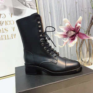 2020 Fashion Women's Boots Genuine Leather Boots For Woman Round Toe Lace Up Ankle Boots Luxury Design Winter Boots Size 34-41 - ladystreets