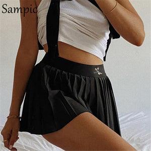 Sampic summer fashion casual print mini woman skirts high waist black white sexy short pleated skirt 2020 - ladystreets