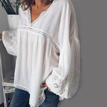 Load image into Gallery viewer, Elegant V Neck Puff Sleeve Lace Blouse Women Summer White Shirts Plus Size Patchwork Tunic Tops Blusas Mujer Chemise