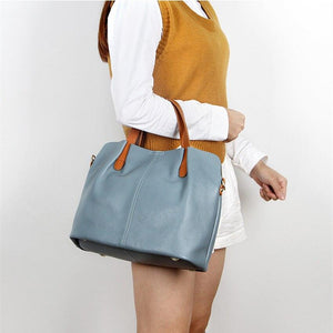 Leather bag women's new wave of European and American niche leather lychee pattern hand bag shoulder messenger bag soft classic - ladystreets