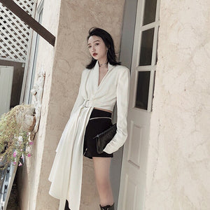 TWOTWINSTYLE White Asymmetrical Jacket For Women V Neck Long Sleeve High Waist With Sashes Coats Female Fashion Clothes 2020 New