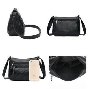 Women Messenger Bag Lady Shoulder Crossbody Bag Small Female pu Leather Handbag Black Flap Purse Bolsa - ladystreets