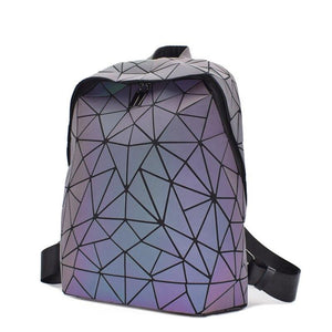 Fashion Women Backpack Luminous Geometric Daypack For Girls Bagpack Noctilucent Men Laptop Backpacks School holographic Female - ladystreets