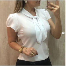 Load image into Gallery viewer, Women Chiffon Elegant Blouse Short Sleeve Bow Tied Neck Shirts Summer Tops Office Ladies Solid Work Shirts Camisas Mujer #T1P