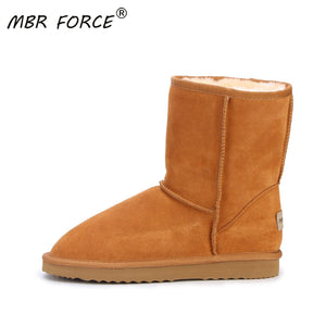 MBR FORCE Fashion Women Boots Winter Warm leather suede winter snow boots for women real Mid-Calf Boots winter for Girl's shoes - ladystreets