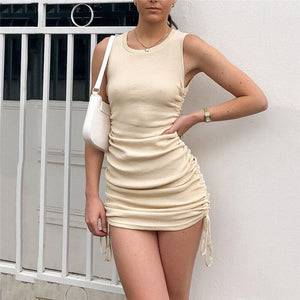 Viifaa Summer Knitted Ruched Tie Side Bodycon Party Mini Dress Sleeveless Casual Women Slim Fit Solid Sexy Dresses