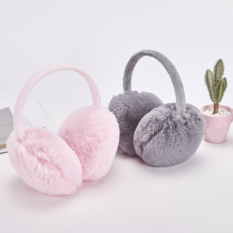 Adjustable Warm Faux Fur Earmuff Women Headband Earlap Foldable Winter Ear Protector Ear Warmer Full Surround Earmuffs - ladystreets