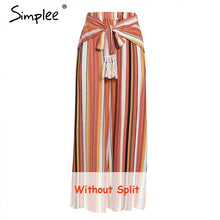 Load image into Gallery viewer, Simplee Split striped lady wide leg pants women Summer beach high waist trousers Chic streetwear sash casual pants capris female - ladystreets