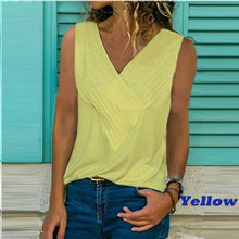 Load image into Gallery viewer, 5XL Summer Sexy Tanks Shirts Women Sleeveless V-Neck Solid Blouses Casual Streetwear White Lodies Tops Plus Size