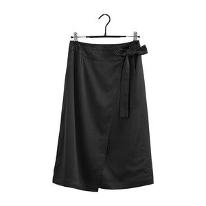 Glossy Satin Skirt Solid High Waist Shiny Split Party Office Lady Skirts - ladystreets
