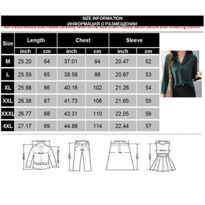 4XL Plus Size Women Chiffon Blouse Shirt Elegant V-Neck Long Sleeve Solid Casual Blouses 2020 Ladies Korean Office Tops