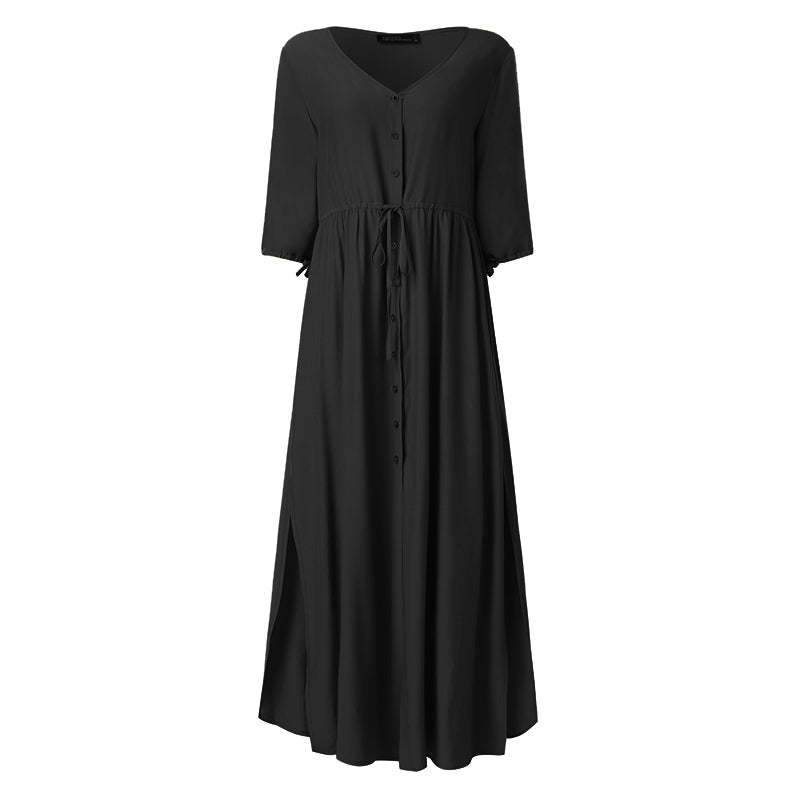Bohemian Summer Beach Dress ZANZEA Women Half Sleeve Split Hem Long Sundress Casual Solid Maxi Dresses Female Buttons Vestido