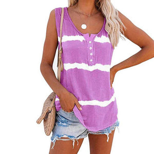 Women 2020 Summer Sleeveless Tie-dye Cotton T Shirts Ladies Button Vest blue Striped T-shirts Casual Fashion O-Neck Purple Tops