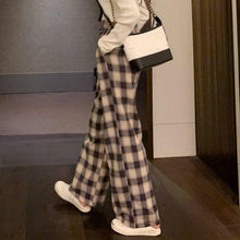 Load image into Gallery viewer, Wide Leg Pants Women Fashion Plaid Ulzzang Loose High Waist Leisure Chic Female Ankle-Length Sweatpant Pockets Summer Streetwear - ladystreets