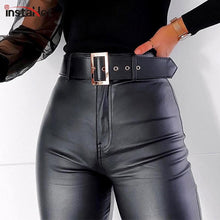Load image into Gallery viewer, InstaHot InstaHot Black Belt High Wiast Pencil Pants Women Faux Leather PU Sashes Trousers Casual Sexy Exclusive Design Capris - ladystreets