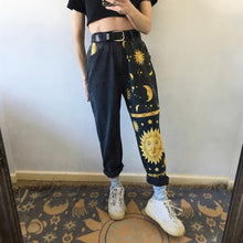 Load image into Gallery viewer, Vintage High Waist Straight Jeans Pants for Women Sun Moon & Stars Print Streetwear Loose Female Denim Ladies Jeans - ladystreets