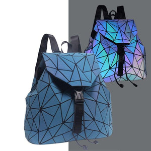 New Women Backpack Female Luminous Geometric Plaid Backpacks For Teenage Girls Bagpack Drawstring Holographic Backpack School - ladystreets