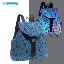 Load image into Gallery viewer, New Women Backpack Female Luminous Geometric Plaid Backpacks For Teenage Girls Bagpack Drawstring Holographic Backpack School - ladystreets