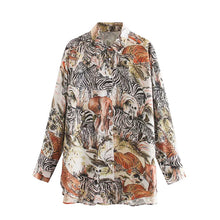 Load image into Gallery viewer, KPYTOMOA Women 2020 Fashion Oversized Animal Print Blouses Vintage Long Sleeve Asymmetric Loose Female Shirts Blusas Chic Tops