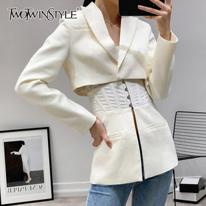 TWOTWINSTYLE Patchwork White Women's coats Lapel Collar Long Sleeve Tunic jackets For Female Autumn 2020 Fashion Clothing Tide