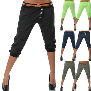 Women Pencil Pant Fashion Solid Color Skinny Calf Length Pants Casual Stretch 3/4 Trousers Summer Female Capris - ladystreets