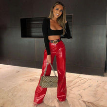 Load image into Gallery viewer, InstaHot Faux Leather Wide Leg Pants High Street Ladies Loose Flare Trousers Women Leather Casual Retro Pants Capris Red Black - ladystreets