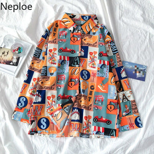 Neploe Retro Harajuku Style Unisex Print Blouse Women Turn Down Collar Long Sleeve Single Breast Blusas Loose Wild Shirt 49375