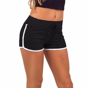 Summer Leisure Women Shorts Contrast Binding Side Split Elastic Waist Loose Casual Shorts Yo-Ga Short Feminino - ladystreets