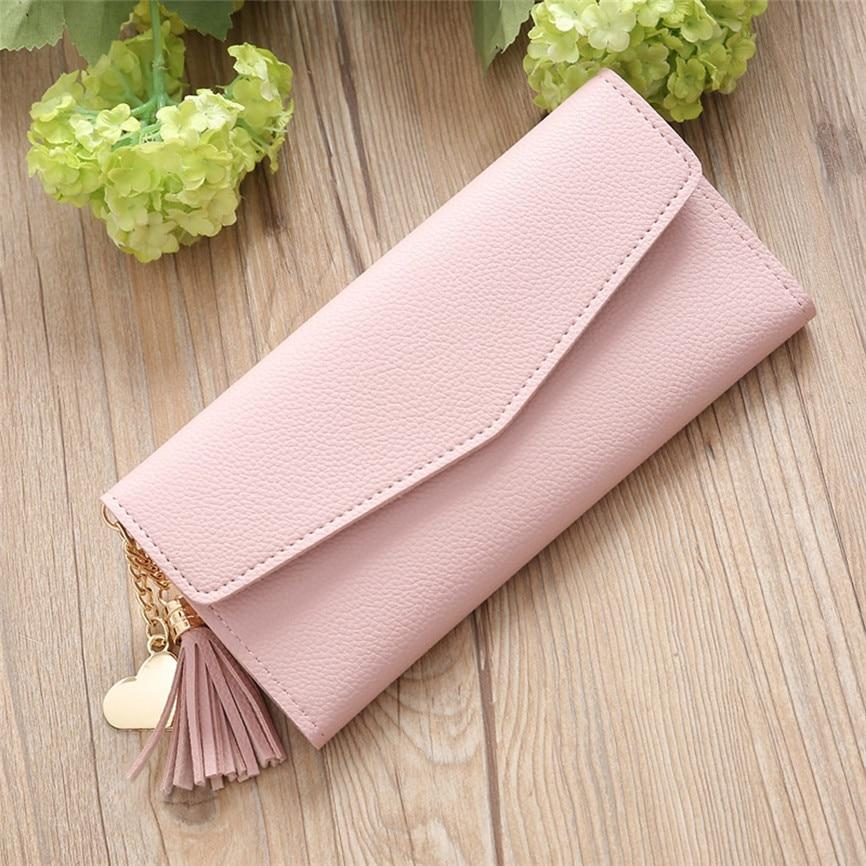 Cartera Mujer Leather Purse Women Purse Pocket Ladies Clutch Wallet Luxury High Quality Girls Solid Color Long Tassel Wallet 15 - ladystreets