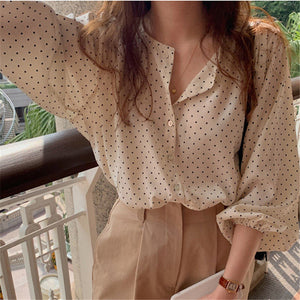 HziriP 2020 All Match Sweet Polka Dots Chic High Street Hot Vintage O-Neck Brief Gentle Elegance Office Lady Fresh OL Shirts
