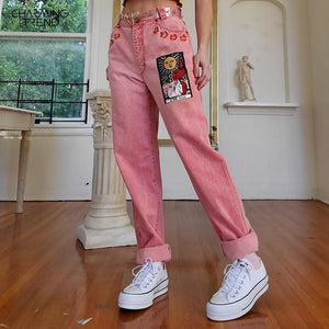 Pink Women's Jeans Long Pants Mid-waist Sun Star Pattern Straight Young Girl Denim Trousers Summer Autumn Female Jeans Cartoon - ladystreets