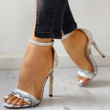 Load image into Gallery viewer, HOT Women Pumps New Shoes Sexy High Heels Ladies Party Stiletto & Enlargers Female Silver Wedding Snake Print Heels Zapatos - ladystreets