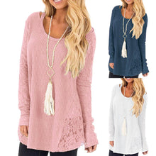 Load image into Gallery viewer, Casual Top Autumn Sweater Women Loose Solid Color Lace Round Neck Long Sleeve Sweaters Jersey Mujer Knitted Top Sweater кардиган