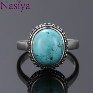 Nasiya Elegant Simple Oval Turquoise Rings for Women Girls 925 Sterling Silver Fine Jewelry Anniversary Engagement Party Gift - ladystreets