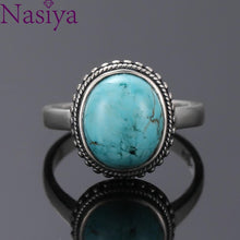 Load image into Gallery viewer, Nasiya Elegant Simple Oval Turquoise Rings for Women Girls 925 Sterling Silver Fine Jewelry Anniversary Engagement Party Gift - ladystreets