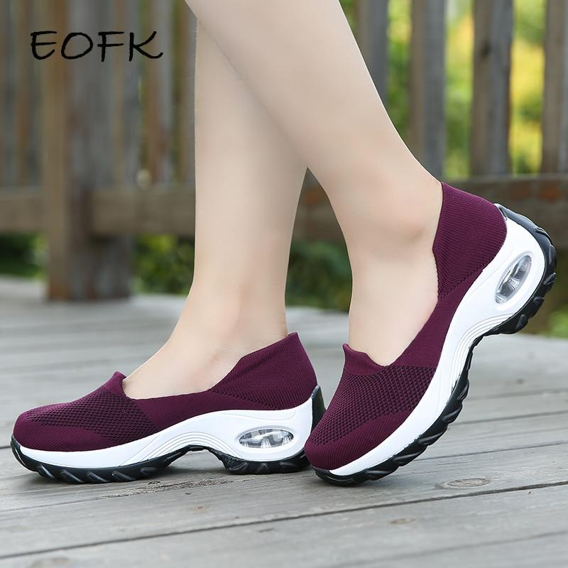 Women Sneakers Slip-On Spring Summer Cushioning Sports Shoes for Female Wine Red Comfortable Women's Loafers Flats - ladystreets
