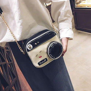 Camera Shaped Lip Handbag Shopping Tote Bolsa Mujer Small Flap New Funny Women Leather Shoulder Messenger Cross Body Bag - ladystreets