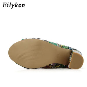 Eilyken 2020 New Design Ankle Boots For Women Green Peep Toe Lace-Up Cross-tied heel Pumps Roman Women Bootas Sandals - ladystreets