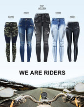 Load image into Gallery viewer, Youaxon New Black Motorcycle Biker Zip Jeans Women`s Mid High Waist Stretch Denim Skinny Pants Motor Jeans For Women - ladystreets