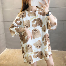 Load image into Gallery viewer, Summer Harajuku Women T-shirt Half Sleeves Cartoon Bear Loose Tops Tide High Street Cotton Tshirt Large Size Tees NS4523