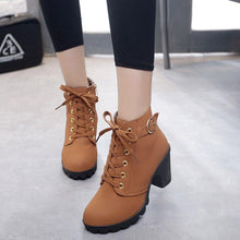 Load image into Gallery viewer, Ankle boots for women 2020 new elegant square heel shoes woman high heel solid vintage boots women lace-up ladies shoes - ladystreets