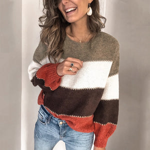 Striped Patchwork Casual Sweaters Women Clothing Autumn Winter Streetwear Loose Knitted Pullovers Female Tops New Arrived 2020