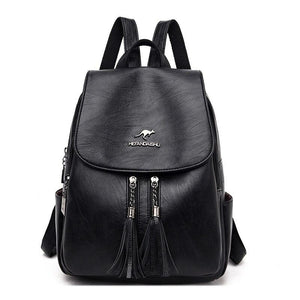Fashion Tassel Leather Backpack Women 2020 New Women Backpack Large Capacity School Backpack Female School Bags - ladystreets