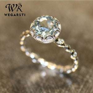WEGARSTI Genuine Blue Topaz Ring 925 Sterling Silver Rings For Women Halo Engagement Ring Gemstones Fine Jewelry Wholesale - ladystreets