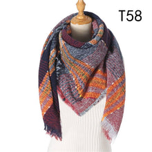 Load image into Gallery viewer, Women Cashmere Scarf Knit Winter Pashmina Lady Luxury Plaid Neck Scarves Warm Shawl Thick Triangle Blanket Echarpe Bandana - ladystreets