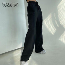 Load image into Gallery viewer, FSDA 2020 Gray High Waist Pants Streetwear Harajuku Harajuku Women Wide Leg Trousers Black Korean Streetwear - ladystreets