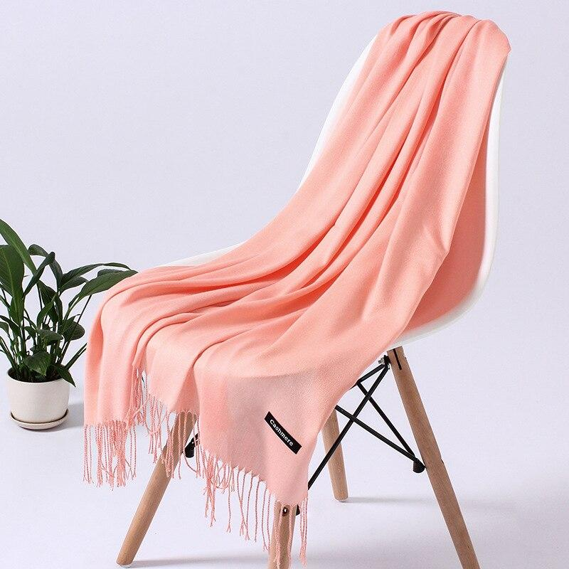 Solid Color Cashmere Scarf Women 2020 New Long Soft Shawls and Wraps Foulard Pashmina Fashion Tassels Hijab Femme Neck Scarves - ladystreets