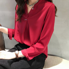 Load image into Gallery viewer, 4XL Plus Size Women Chiffon Blouse Shirt Elegant V-Neck Long Sleeve Solid Casual Blouses 2020 Ladies Korean Office Tops